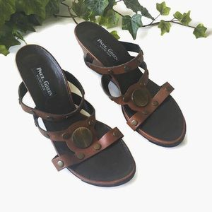 Paul Green Brown Leather Studded Wedge Sandal